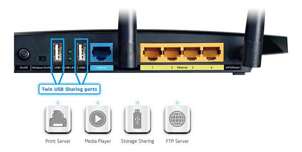 Router Gigabit Inalambrico de Banda Dual N750 TL-WDR4300 - tienda.tpu.mx - Puertos USB compartidos